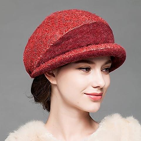 BTBTAV*Hiver enfants Chapeaux bonnet de laine élégante l'automne et l'hiver chaud vent Round Top Hat , Red