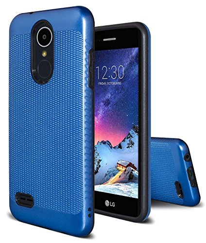 LG Aristo 2Fall, LG Zone 4/LG Tribute Dynasty/LG Fortune 2/LG Rebel 3/LG risio 3/LG K8Plus, Asmart Slim Rutschfeste Tasche Dual Layer Rüstung Defender Case für LG K8(2018) mit Lanyard Loch, Blau -