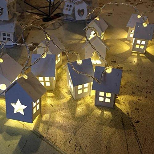 Wildlead Weihnachten String Lingts Mit Batterie Box Holz Haus Form Hohle Herz 10 Led-lampen Licht Für Hochzeit Dekoration (Av Direct Box)