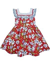 5dc853f70 Foque - Vestido para niña de piqué con Estampado Floral. Adornado con  puntilla y Gran