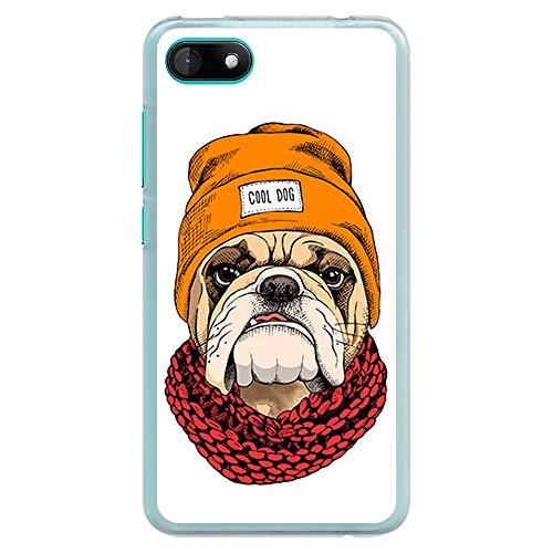 BJJ SHOP Transparent Hülle für [ Wiko Sunny 3 ], Klar Flexible Silikonhülle, Design: Coole englische Bulldogge, mit Hut und Schal