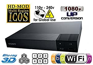 SONY BDP-S6200 FLAGSHIP 2K/4K 2D/3D All Zone Multi Region DVD Blu ray Player w Built in 2.4Ghz Wi-Fi - 2 USB, 1 HDMI, 1 COAX, 1 ETHERNET. 100~240V 50/60Hz Int'l Version with EU/UK Power Plug (2m HDMi Cable Included)