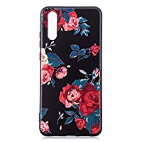 6City8Ni Flexible Thin Soft Slim Anti-Scratches Shock Absorption Soft Silicone Colorful Animal Floral Flowers Cartoon Printed TPU Gel Elastic Protective Cell Phone Compatible with Huawei P20 Lite