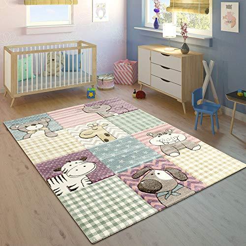 Paco Home Kinderteppich Bunt Pastellfarben 3-D Karo Muster Tier Design Weich Kurzflor, Grösse:120x170 cm