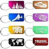 Wilxaw Viaggio Bagagli Tag, 8 Pezzi Etichetta in Lega di Alluminio con 8 Pezzi di Filo Metallico, Adatto al Bagaglio Registrato Valigia dei Bagagli a Mano