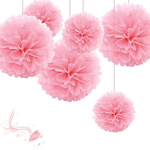 (SYOO 10x Rosa Pom Pom Pompom Pompon, Durchmesser 25cm, seidenpapier Dekoration für Schlafzimmer Hochzeit Geburtstag Kinder Party Babyparty Taufe Weihnachten)