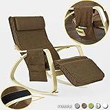 SoBuy® poltrona a dondolo, Sedia relax con apoggiagambe regolabile, con porta oggetti,colore:marrone ,FST18-BR,IT