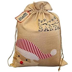 Nikolaussack Weihnachtsmann Sack Geschenkbeutel Weihnachten Jutesack groß Santa personalisiert mit Namen
