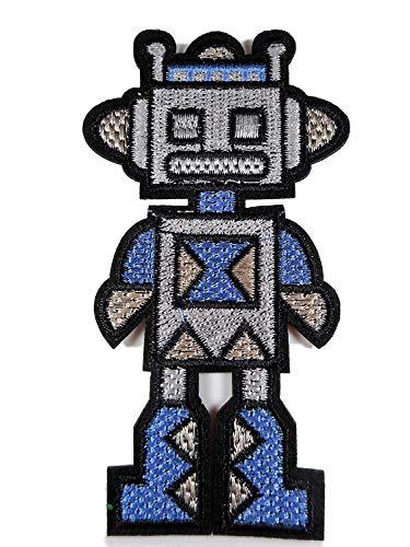 Patch Roboter Robo 11 x 6 cm Aufbügler Aufnäher Lifestyle Deko Neu GST 396