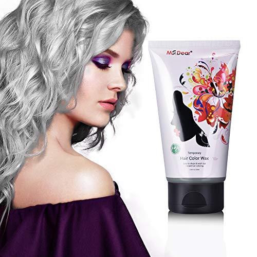 Haarfarbe Wachs, MS.DEAR Grau Hair Wax, Temporäre Haarwachs Wachs, Männer und Frauen Professionelle Haar Pomaden, Modellierung Hair Styling Creme für Partei, Festival, Cosplay & Halloween