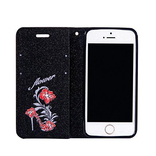 Cover pelle per iPhone SE,per iPhone 5S,per iPhone 5 Custodia, ZCRO Elegante Flip Cover Portafoglio Libro Custodia in Pelle Protettiva Magnetica Case con Glitter Brillantini Fiori Modello Disegni Stil Nero,rosso