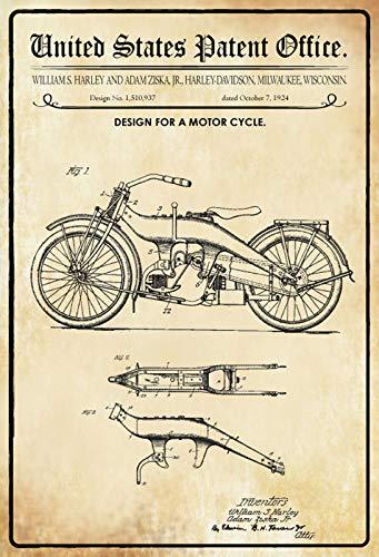 Blechschild Patent Entwurf für EIN Motor Ziska-Harley Metallschild Deko tin Sign -