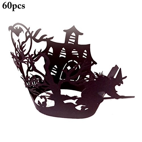 (Funpa 60pcs Cupcake Wrapper Cupcake Decor Wrapper Halloween Castle Design Party Kuchen Decor Small Black 4)