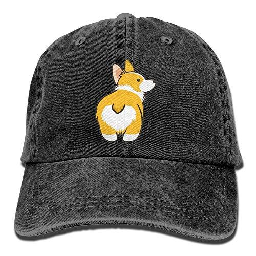 Sdltkhy Corgi Butt Unisex Washed Baseball Cap Adjustable Cowboy Cotton Ball Hat Black Unisex46
