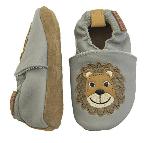 Melton - Krabbelschuh Lion Aus Weichem Leder, Scarpine e pantofole primi passi Bimbo 0-24 Mehrfarbig (Light grey)