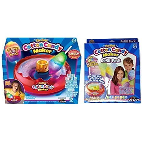 Cra-Z-Art Deluxe Cotton Candy Maker Kit with Lite Up Wand Toy and Colored Sugar Refill Kit Bundle by