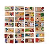 Fdit 28 Pz Building Domino Blocks Set Animal Puzzle in Legno colorato Giocattolo educativo precoce per Bambini Bambini