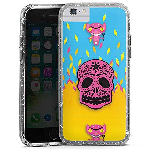 Apple iPhone 6s Bumper Hülle Bumper Case Glitzer Hülle Teufel Devil Hell Bumper Case Glitzer silber