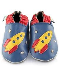 Snuggle Feet - Chaussons Bébé en Cuir Doux - Fusée