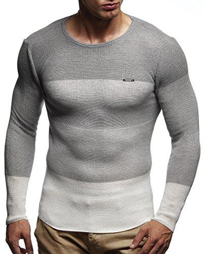 LEIF NELSON Herren Pullover Strickpullover Hoodie Basic Rundhals Crew Neck Sweatshirt longsleeve langarm Sweater Feinstrick LN1440; Gr_¤e M, Ecru
