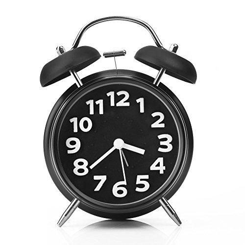 CompraFun Despertador con Campana Gemela, Reloj Diseño Analógico Cuarzo Retro Vintage Silencioso No Tic-Tac, Alarma Alta, sin Snooze, con Luz Nocturna. Ideal para Durmientes Pesados. Negro