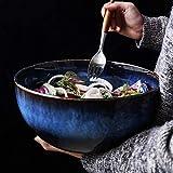 WAN Retro Müslischale Große Keramik Japanische Suppe Nudel Rührschüssel Blau Pasta Schalen Tablewrae 9 Zoll