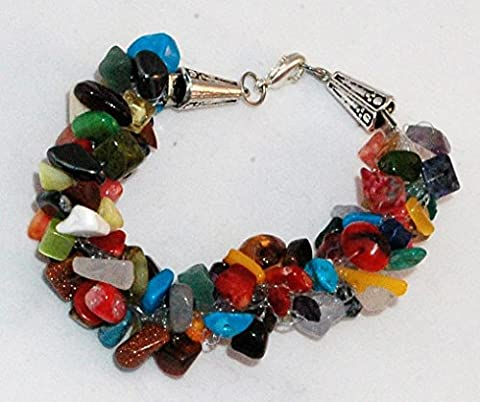 bracelet pierre naturelle multicolore crocheté