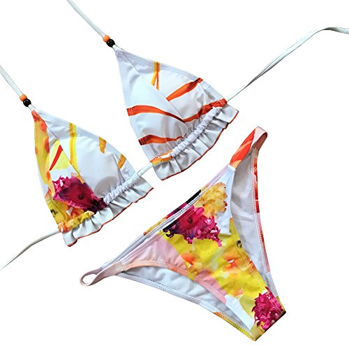 Jimmackey Bikini Donne Sexy Set Bendaggio Stampa Rivetto Imbottito Coordinati Swimwear Multicolore