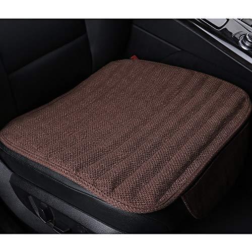 Autositzkissen aus Baumwolle und Leinen, Einzelsitz-Schutzpolster, geeignet für Auto & Heim & Büro, mehrfarbig optional (2 Stück),Brown -
