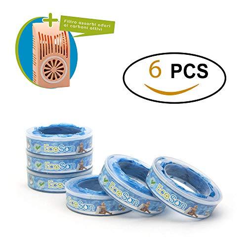 ECOSAN - Ricarica Compatibile Per Mangiapannolini  Maialino Angelcare (Set 6 RICARICHE) Più  Filtro Assorbi  Odore Ai (Carboni attivi - Absorb-Odor System)  Barriera Anti-Odore EVOH  7 Strati