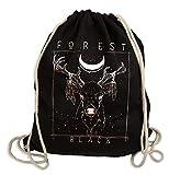 Deer Forrest Black - Gymsac Turnbeutel - Stoffbeutel Hipster Sportbeutel Rucksack Tasche schwarz...