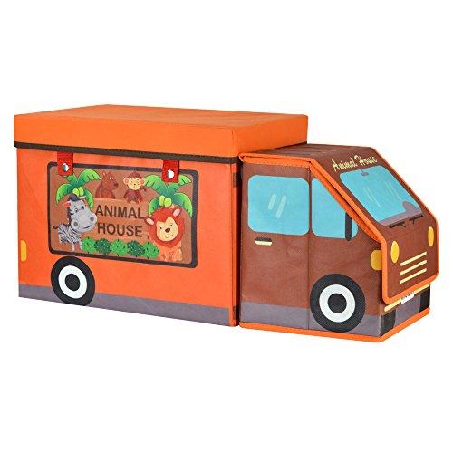 tumama caja de almacenaje para la sala dormitorio plegable–Baúl para juguetes con alfombra construcción Casa con diseño de animales con forma de coche de juguete Collection juguete para niños