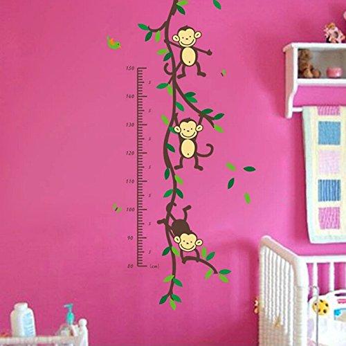 Patrón de dibujos animados de mono pared adhesivo bebé altura tabla de crecimiento infantil jardín de infancia