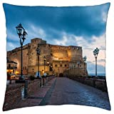 Castle dell-ovo Naples Italy – throw Pillow case (45,7 x 45,7 cm)