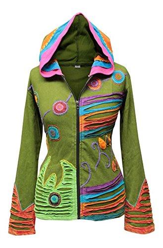 Shopoholic Grunge EMO gótico de Hippie para Mujer, diseño de Chaqueta con Capucha de algodón, diseño Retro Verde 40