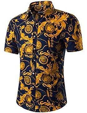NiSeng Nuova Uomo Camicia a maniche corte Casual Slim Fit stampa shirt