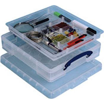 Really Useful Box 7 Litre Storage Box with Hobby Tray - Clear