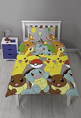 Pokemon Catch Kids Children Reversible Rotary Single Bed Duvet Quilt Cover Set
