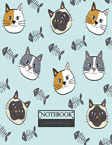 Notebook: Cats and fishbone on blue cover and Lined pages, Extra large (8.5 x 11) inches, 110 pages, White paper (Cats and fishbone on blue notebook) - Fishbone Cover