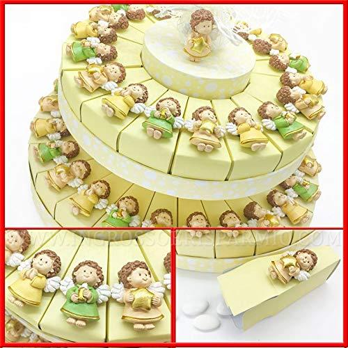 Ingrosso e risparmio calamite a forma di angioletto in resina su struttura torta color panna in cartoncino, bomboniere originali battesimo maschio, femmina (18 fette - senza confetti)