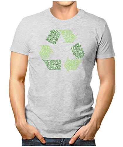 PRILANO Herren Fun T-Shirt - BIKE-RECYCLING - Small bis 5XL - NEU Grau Meliert