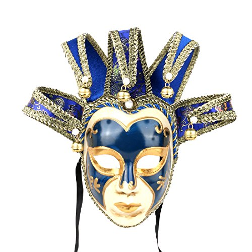 YUFENG Masquerade Jolly Jester Maske Cosplay Mardi Gras Ball Dance Geburtstag Party Tragen Oder Decor Blau