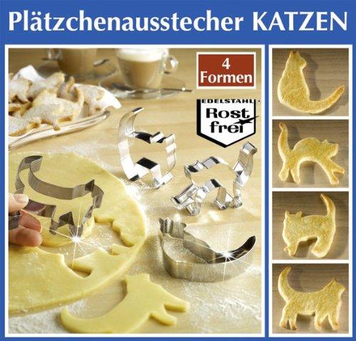 Wenko Backform, Ausstecher, Plätzchenform, Plätzchenausstecher Katze Katzen Motiv 4 Stck - Nr.: 2180040900