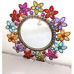 Espejo redondo de pared de cristal con INSERTI Multicolor étnico chic