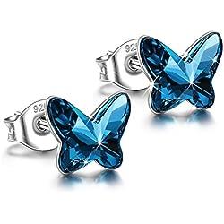 ANGEL NINA 925 Silber Damen Schmetterling Ohrringe Ohrstecker Schmuck mit Swarovski Kristall Blau Geschenke zum Geburtstag Weihnachten Jubiläum Hochzeit Mutter Frau Tochter Mädchen Freundin Frauen ihr