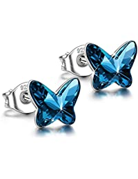ANGEL NINA Women Butterfly Pierced Stud Earrings Neckalce 925 Sterling Silver with Swarovski Crystals Blue, Christmas Gifts Elegant Jewellery Gift Box, Nickel Free Passed SGS Test