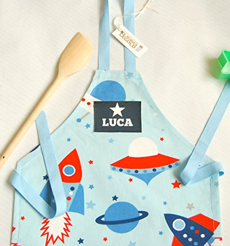 boys-personalised-apron-chef-hat-option-blue-spaceship-fabric-toddler-to-teen-apron-quality-cotton-x