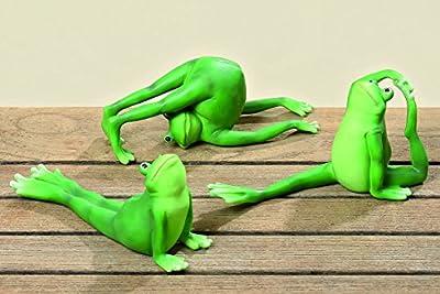 3er Set Yoga Frösche je ca. 9,5cm Frosch Figur Gymnastik lustige Deko für Haus und Garten Tierfigur