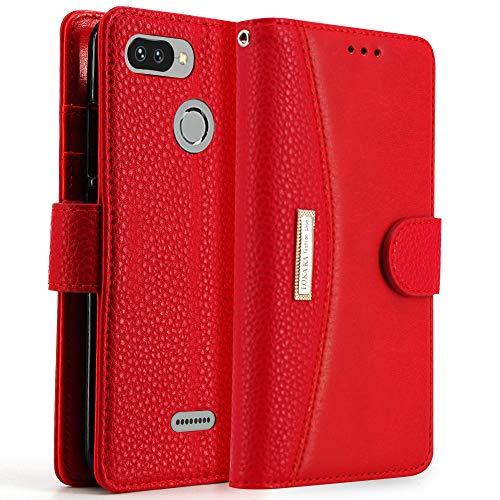 LOKAKA Leder Handyhülle für Xiaomi Redmi 6/6A, Handyhülle Handystand Kartenfächern Lux