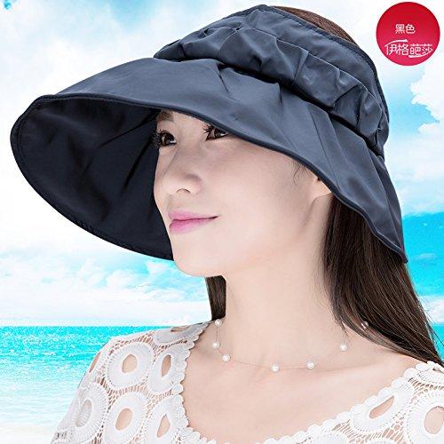 Kappe Keine Kappe Hut Sommer Zusammenklappbar Sonnenhut Großen Hut Strand Hut Sonnenhut Erwachsene Eine Größe Schwarz [Einfache Farbe] (Zusammenklappbare Hut Schwarz Für Erwachsene)